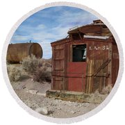 Abandoned Caboose Round Beach Towel