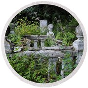 Round Beach Towel featuring the photograph Abandoned Cemetery 2 by Cathy Mahnke