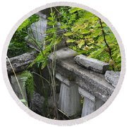 Round Beach Towel featuring the photograph Abandoned Cemetery by Cathy Mahnke