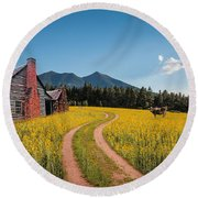 Abandoned Country Life Round Beach Towel