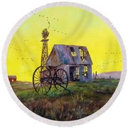 Abandoned  Farm Round Beach Towel by Lee Piper