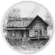 Abandoned House Round Beach Towel by Lena Auxier