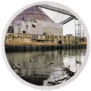 abandoned - Industrial - Swan song Round Beach Towel