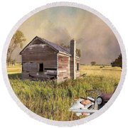 Round Beach Towel featuring the photograph Abandoned by Liane Wright