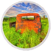 Abandoned Rusting Truck Round Beach Towel