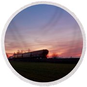 Round Beach Towel featuring the photograph Abandoned Train  by Eti Reid
