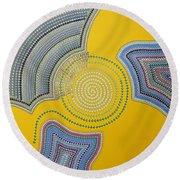 Round Beach Towel featuring the painting Aboriginal Inspirations 35 by Mariusz Czajkowski