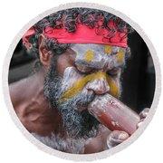 Aboriginal Playing Didgeridoo Round Beach Towel by Jola Martysz