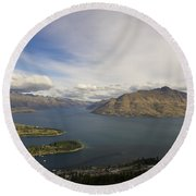 Round Beach Towel featuring the photograph Above Queenstown #2 by Stuart Litoff