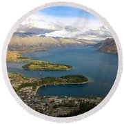 Round Beach Towel featuring the photograph Above Queenstown by Stuart Litoff