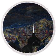 Above The City At Night Round Beach Towel