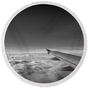 Above The Clouds Bw Round Beach Towel by Michael Ver Sprill