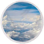 Above The Clouds Over Texas Image B Round Beach Towel