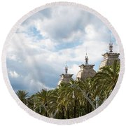 Round Beach Towel featuring the photograph Above The Trees Of Parc De La Ciutadella by Lorraine Devon Wilke