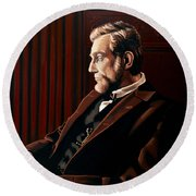 Abraham Lincoln By Daniel Day-lewis Round Beach Towel