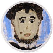 Round Beach Towel featuring the painting Abraham Lincoln Future President by Mary Carol Williams