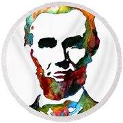 Abraham Lincoln Original Watercolor  Round Beach Towel