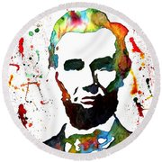 Round Beach Towel featuring the painting Abraham Lincoln Original Watercolor Painting by Georgeta Blanaru