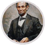Abraham Lincoln Round Beach Towel by Ylli Haruni