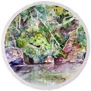 Abram's Creek Round Beach Towel by Barry Jones