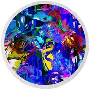 Abstract 010215 Round Beach Towel by David Lane
