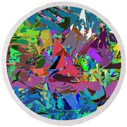 Abstract 011515 Round Beach Towel by David Lane