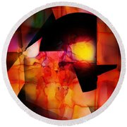 Abstract 012615 Round Beach Towel by David Lane