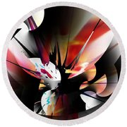 Round Beach Towel featuring the digital art Abstract 082214 by David Lane