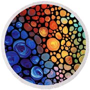 Abstract 1 - Colorful Mosaic Art - Sharon Cummings Round Beach Towel