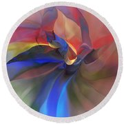 Round Beach Towel featuring the digital art Abstract 121214 by David Lane