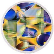 Abstract 2345 - Fine Art Digital Abstract Round Beach Towel by rd Erickson