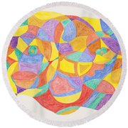 Round Beach Towel featuring the painting Faces And Places by Stormm Bradshaw