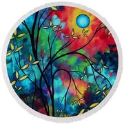 Abstract Art Landscape Tree Blossoms Sea Painting Under The Light Of The Moon II By Madart Round Beach Towel