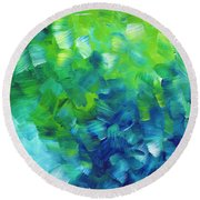Abstract Art Original Textured Soothing Painting Sea Of Whimsy I By Madart Round Beach Towel