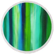 Abstract Art Original Textured Soothing Painting Sea Of Whimsy Stripes I By Madart Round Beach Towel