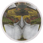 Abstract Art Shemale Treetrunk Nature Natural Eyes Breast   Graphic Artistic Conversion Of Photograp Round Beach Towel