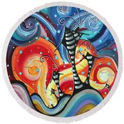 Abstract Art Whimsical Cityscape Funky Houses Homeland By Madart Round Beach Towel