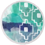 Abstract Aztec- Contemporary Abstract Painting Round Beach Towel