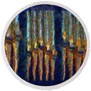 Abstract Blue And Gold Organ Pipes Round Beach Towel
