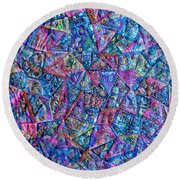 Abstract Blue Rose Quilt Round Beach Towel