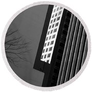 Abstract Building Patterns Black White Round Beach Towel