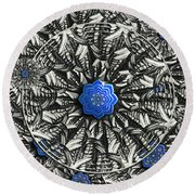 Round Beach Towel featuring the photograph Abstract Butterfly Lotus Mandala by Deborah Smith