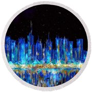 Abstract City Skyline Round Beach Towel