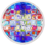 Round Beach Towel featuring the digital art Abstract Color Blocks by Anita Lewis