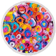 Abstract Colorful Flowers Triptych  Round Beach Towel