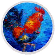 Abstract Colorful Gallic Rooster Round Beach Towel