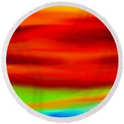 Abstract Colors Round Beach Towel by Anita Lewis
