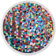 Abstract-colours Round Beach Towel