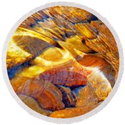 Abstract Creek Water 4 Round Beach Towel