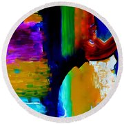 Round Beach Towel featuring the painting Abstract Du Colour by Lisa Kaiser